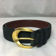 De Vecchi Hamilton Hodge Black Nubuck Leather Belt Brushed Gold Buckle Size 36