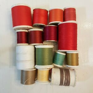 Sewing Thread LOT of 15 used VTG Spools Red Orange Green Beige Talon Coats more