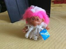 Troll Little Bride Doll DAM 1986 Pink Hair Norfin Tag Style 5401