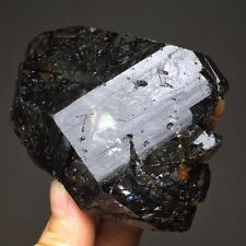 296g Extremely Rare Black Rutile & Green Tourmaline Gems & Feldspar Based Quartz