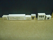 Stampin Up set of 6 Rubber Stamps--words and designs Thanks-Heartfelt-etc