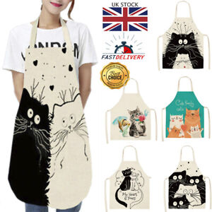 Apron Cat Funy Gift Linen Cotton Novelty Cooking Baking Kitchen Unisex Household