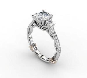 Elite Designer BABIKI Victorian Collection Round Diamond Semi Mount in PLATINUM