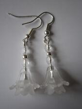 Long Drop / Dangle Earrings - Fuschia - Single Drop - White & Clear