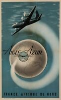 Vintage Airline Poster - DAD - Aigle Azur - France - North Africa Algeria - 1950