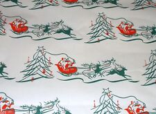 Vtg Christmas Wrapping Paper Gift Wrap 1950 Santa Sleigh Reindeer Tree Nos