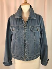 Vintage 80s ESPRIT Lightweight Zip Up Blue Jean Jacket Trucker Coat Womens Sz L