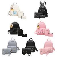 3PCS Women Girl Backpack Casual PU Leather Handbag Rucksack Shoulder School Bag