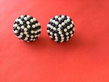 Vintage Blue White Glass Bead Earrings Ear Rings Rockabilly Pinup Rock N Roll