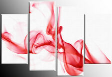 LARGE RED WHITE ABSTRACT SMOKE CANVAS WALL ART PICTURE SPLIT 4 PANEL 100 CM