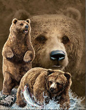 Brown Bear Lenticular 3D Picture Animal Poster Painting Home Wall Art Decor