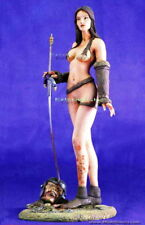 200 mm Woman warrior with base & Goblin Head Unpainted Resin Kit