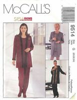 McCall's Pattern # 9514 Misses Jacket Top Pull-On Pants & Skirt Size 20-24 Uncut