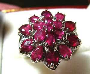 Sumptuous RICH RED RUBY CLUSTER RING .925 STERLING SILVER RING 6.25 CTW SZ 7