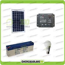 Kit Iluminación panel placa solar poly 5W 12V bombilla LED 7W batería 1 hora