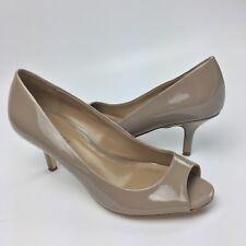 Ann Taylor Patent Peep Toe Pumps Size 6M Kitten Heel Shoes Taupe Beige
