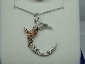 Isle of Wight Sterling Silver 925/ Gold Plate Fairy Moon Pendant on Silver Chain
