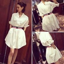 Fashion Korean Women V Neck Loose Slim Tunic Summer Wear To Work Dress With Belt