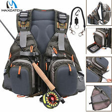 Maxcatch Adjustable Fly Fishing Vest Outdoor & Magnetic Release Holder with Cord