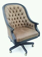 SAM MOORE CHAIR LEATHER-LIKE PATTERN BLACK CARVED RAILS WHEELS BRASS NAILS