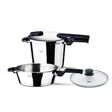 "Fissler 6 Pc Large - 8.5qt and 4.2qt (10 1/4"") Vitaquick Pressure Cooker Set"