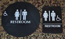 2 Signs White Brown Unisex Accessible Handicap Restroom Title 24 ADA  Compliant