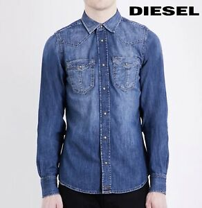 Diesel Denim Shirt Men's D-Broome Long Sleeve Collared Blue Jeans Shirt