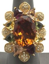 Sterling Silver Gold Tone Orange Citrine Colorful Gemstone Chunky Statement Ring