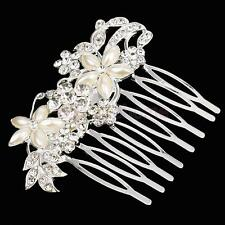 Rhinestone Pearl Crystal Wedding Flower Hair Accessories Hair Piece Combs