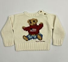 Ralph Lauren Polo Flag Teddy Bear Sweater Baby Size S 3-12 Months Cream White