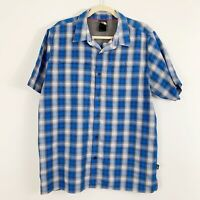 The North Face Short Sleeve Plaid Button Down Shirt Size Large Blue White
