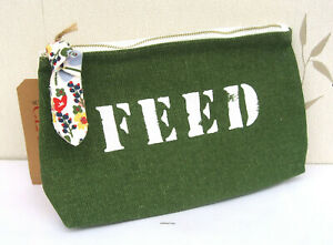 """Clarins Small Canvas Green & Cream """"Feed"""" Travel/Make Up Bag New"""