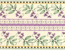Debbie Mumm Adorable Little Vines Flowers Purple Violet Wallpaper Wall Border