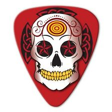 5 x Sugar Skull Red Guitar Picks *NEW* Grover Allman Bag of 5, 0.8mm gauge