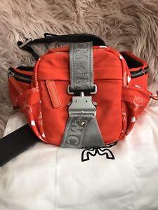 Authentic MCM Orange Flame Nylon Jemison Crossbody 2 in 1handbag