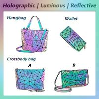 ××Luminous Women Geometric Laser Tote Shoulder Bags Laser Plain Folding Handbags