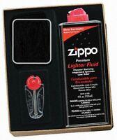 New ZIPPO Empty Lighter Slot Regular with 125ml Fluids & Flints Gift Set Genuine