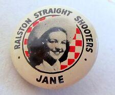 1946 JANE Tom Mix Straight Shooters pinback button Ralston Cereal Radio Premium