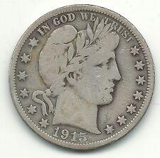 A VINTAGE FINE CONDITION 1915 D BARBER SILVER HALF DOLLAR COIN-MAR615