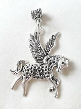 "Handmade Pegasus (flying horse) or Unicorn necklace (""antique silver"")"