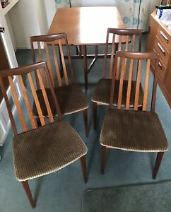 Mid Century G Plan Fresco Teak Drop Leaf Dining Table & 4 Chairs VGC