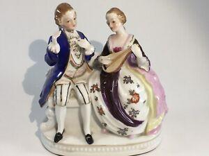 Maruyama Vintage Handpainted Victorian Couple Figurine, made in Occupied Japan
