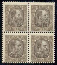 ICELAND #37 6aur, Chr. IX Block of 4, og, NH, Facit $288.00
