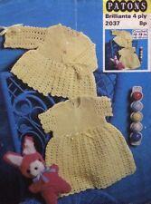 "Patons Vintage Baby Coat & Dress 4 Ply CROCHET PATTERN 2037 - (18-19"")"