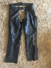 Harley Davidson Women's XL  Leather Black Chaps Zip Leg With Snaps