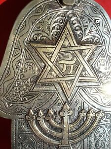 Moroccan hand engraved hand pendant with BRASS star and menorah lamp L15cm