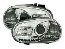 PHARES FEUX AVANT DEVIL EYES CHROME CRISTAL LED VW VOLKSWAGEN GOLF 4 1.4 1.6 1.8