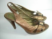 WOMENS BRONZE BROWN LEATHER SLINGBACK HEELS SANDALS CAREER SHOES SIZE 8 8.5 M