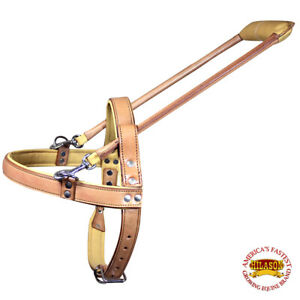 Medium Guide Dog Harness Hilason Tan Padded Genuine Leather  With Handle