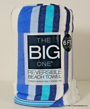 "The Big One Beach Towel Blue Stripe Oversized Reversible 3' x 74"" New"